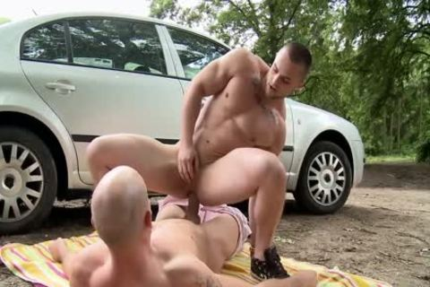 concupiscent homosexual fellows Make The Time To hammer outdoors
